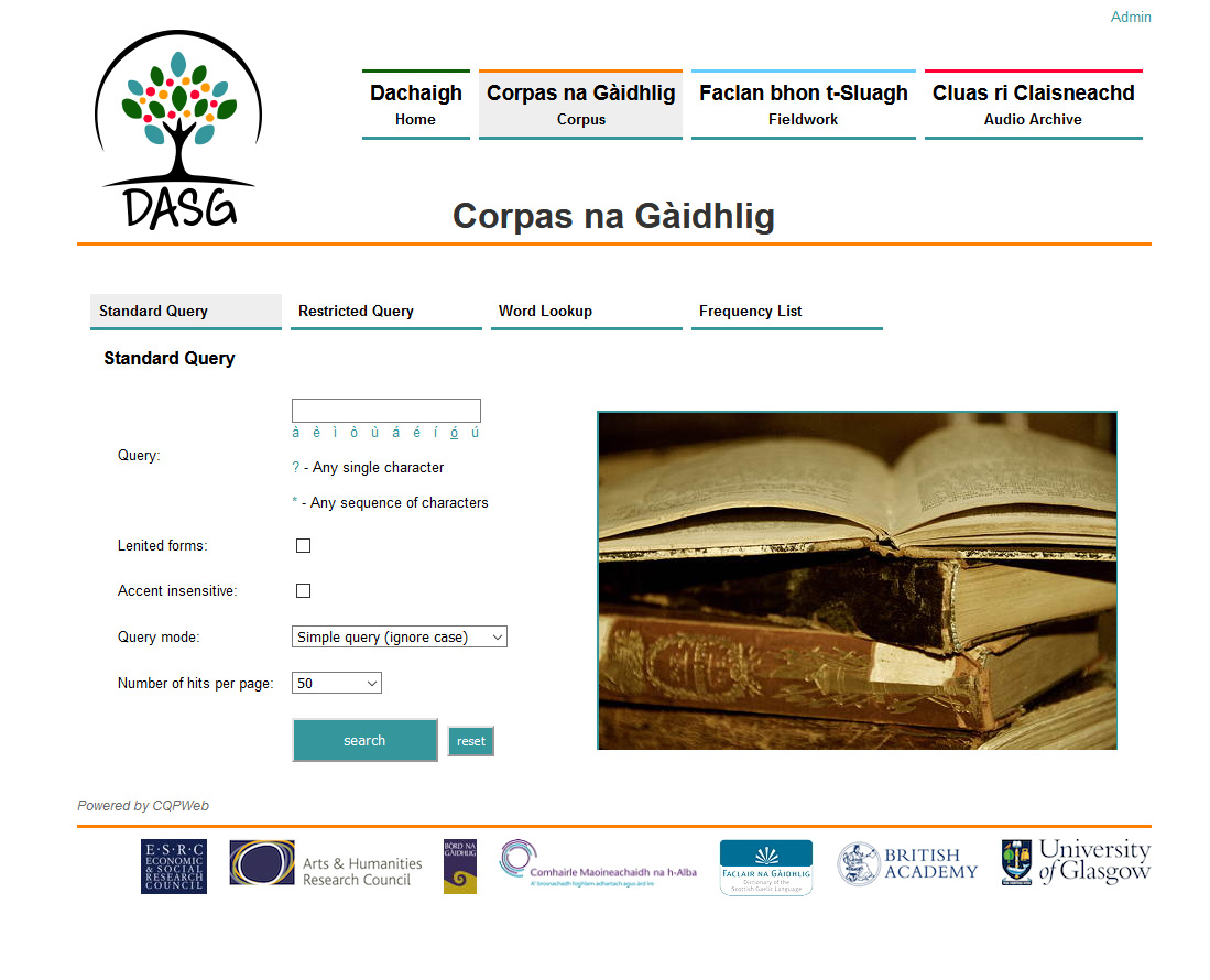 The 'standard query page' of the Corpas na Gàidhlig