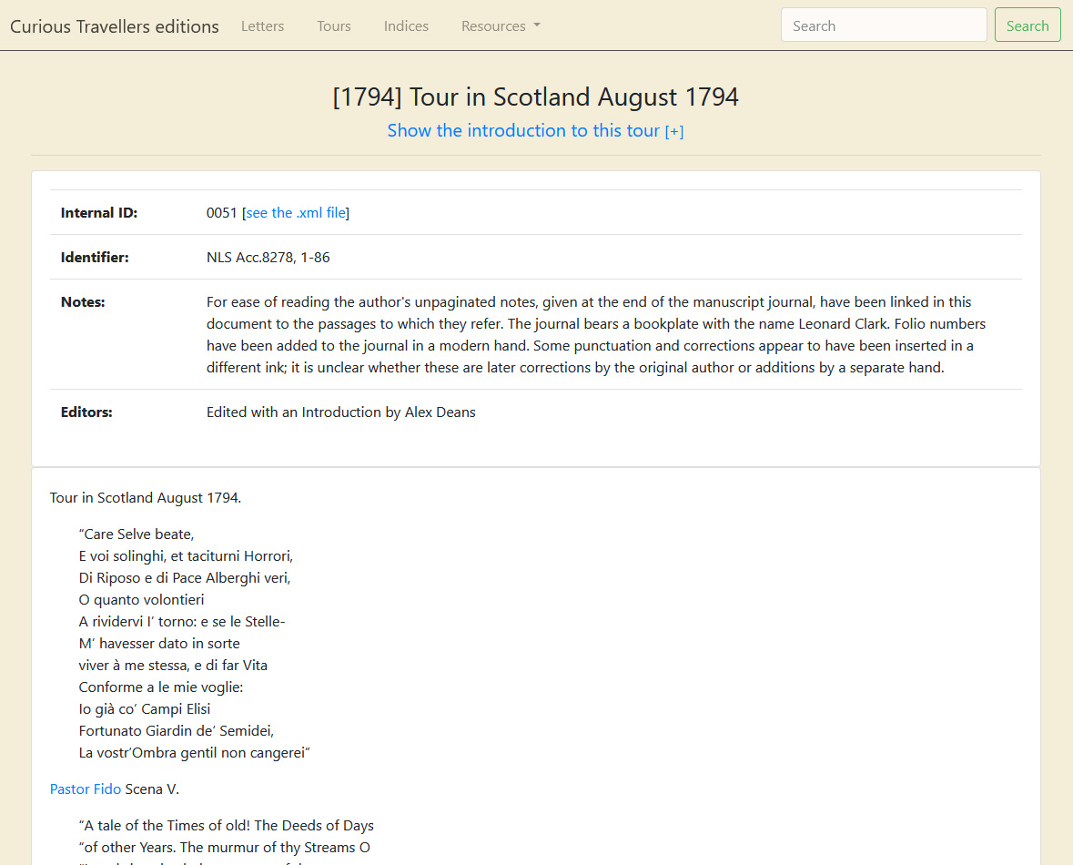 A transcription of an anonymous 'Tour in Scotland' from August 1794