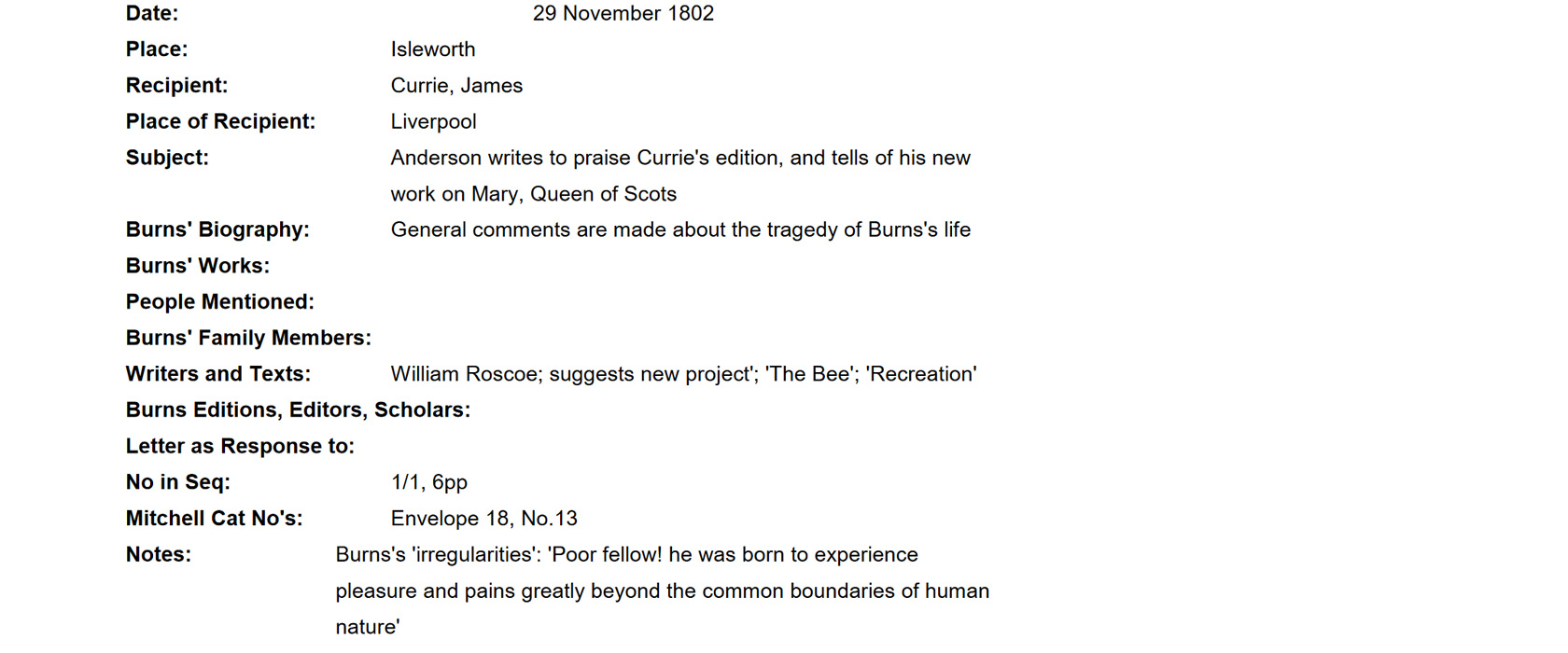 Correspondence of James Currie