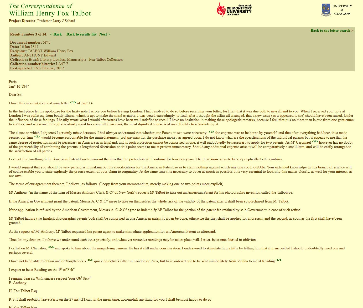 Correspondence from Talbot to Edward Anthony