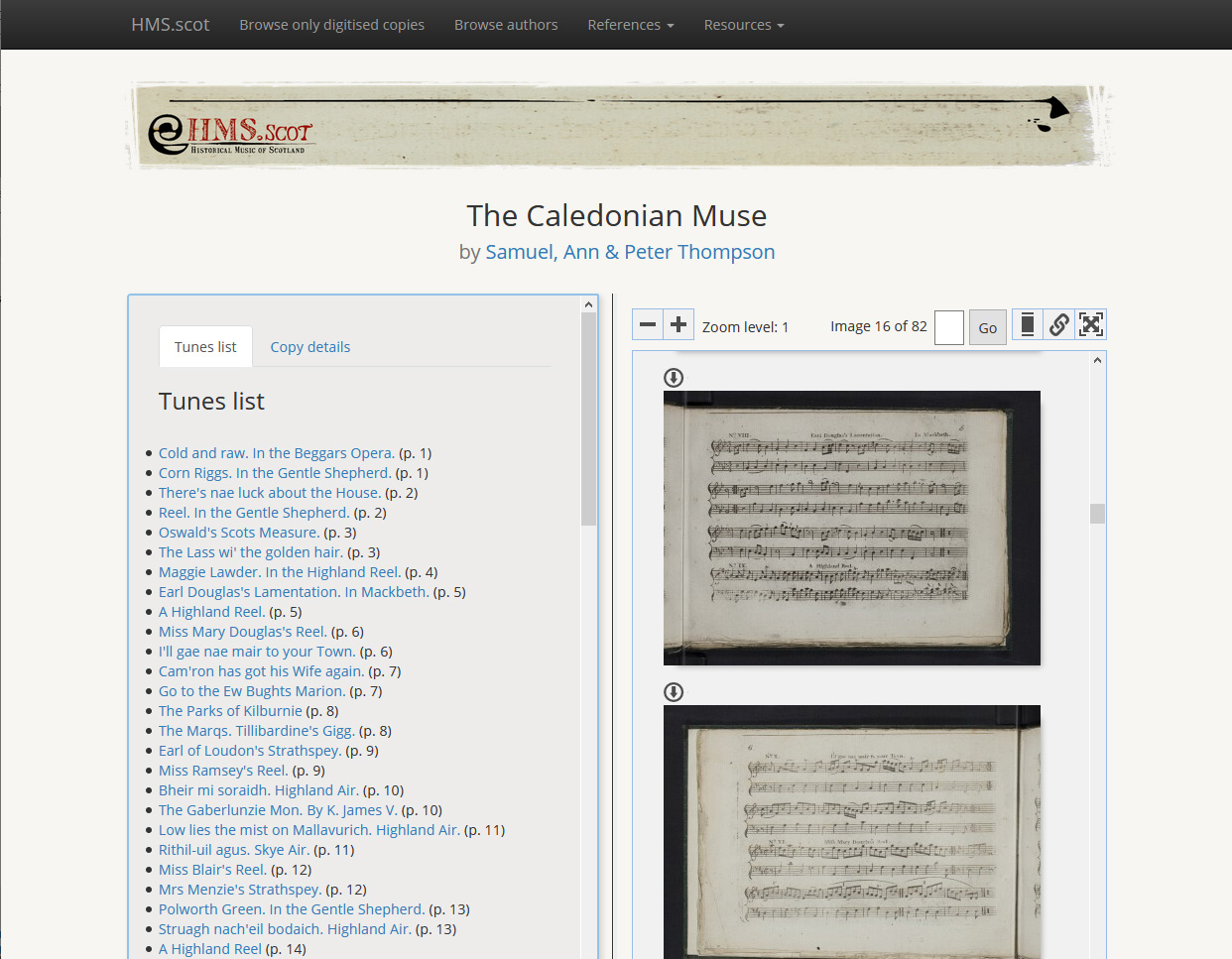 Catalogue entry for 'The Caledonian Muse'
