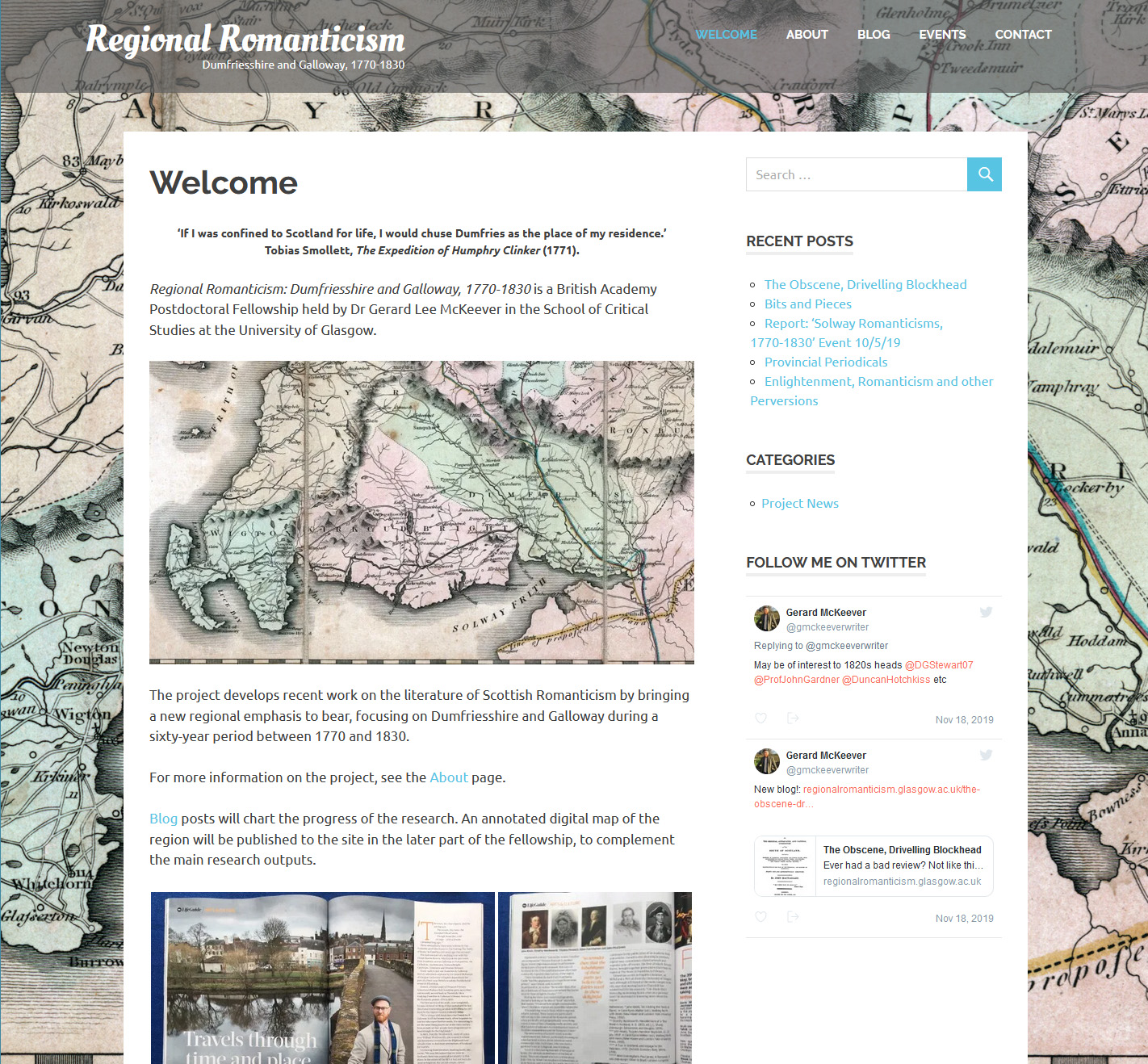 Homepage of the Regional Romanticism website