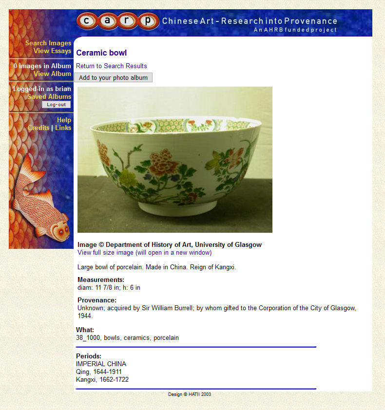 Record for a ceramic bowl, featuring information about provenance, materials and period