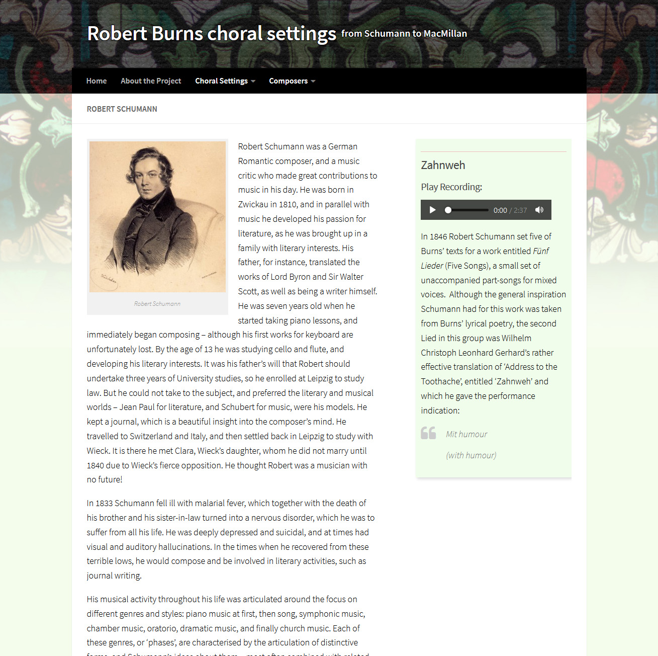 Page about the choral setting by Robert Schumann
