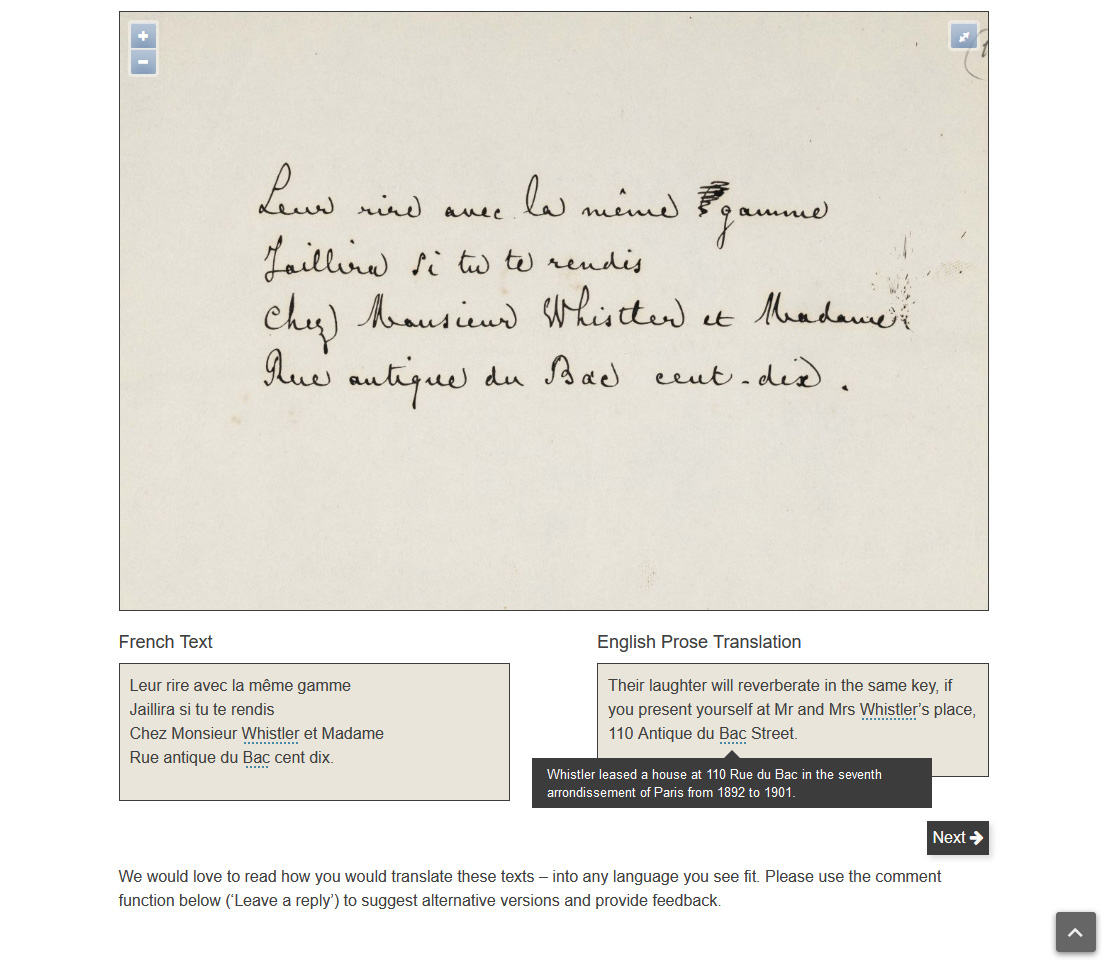A letter from Mallarmé to Whistler, with French transcription, English translation and editorial notes