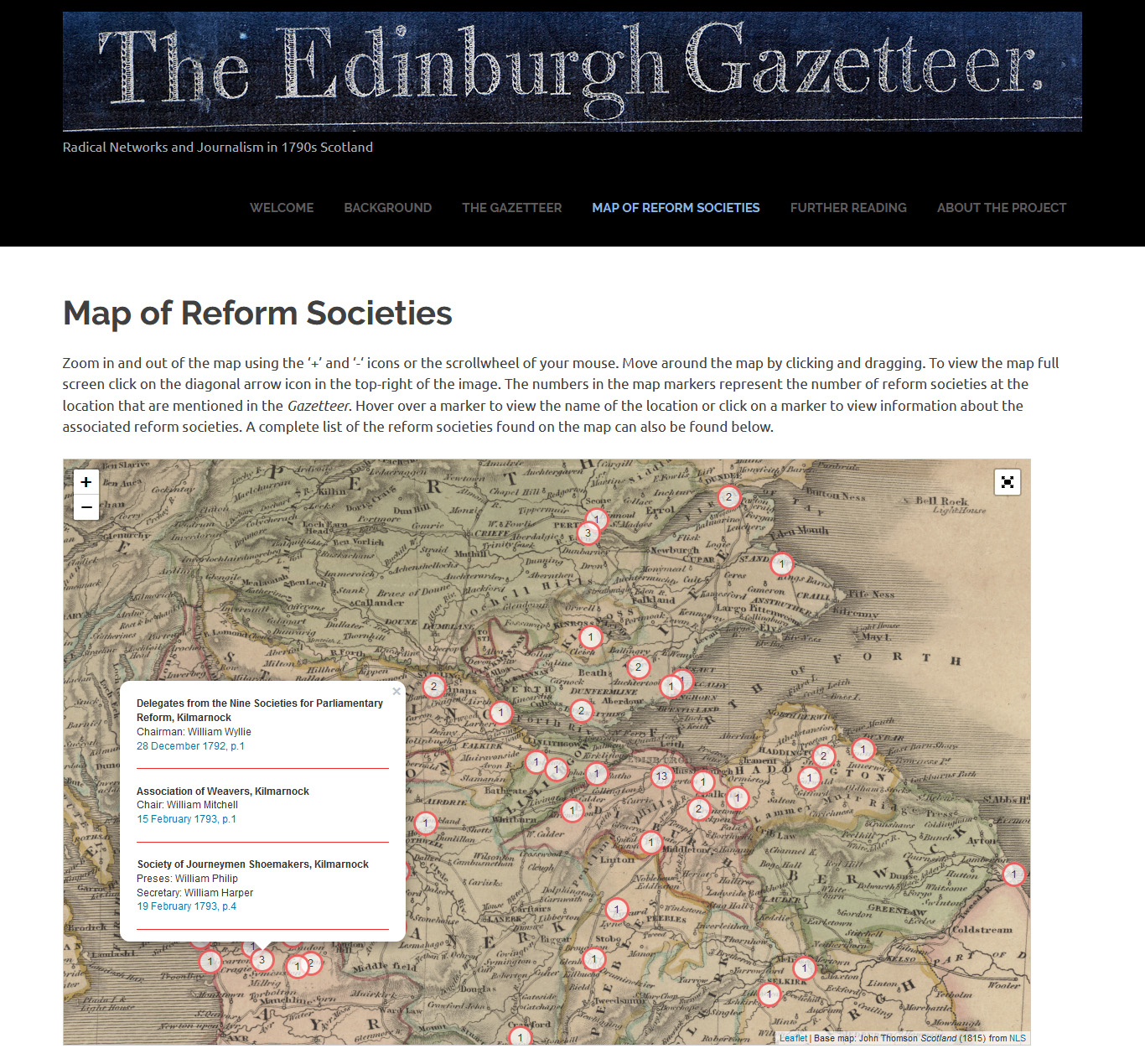 Map of Reform Societies with Kilmarnock selected, showing links to Gazetteer pages.