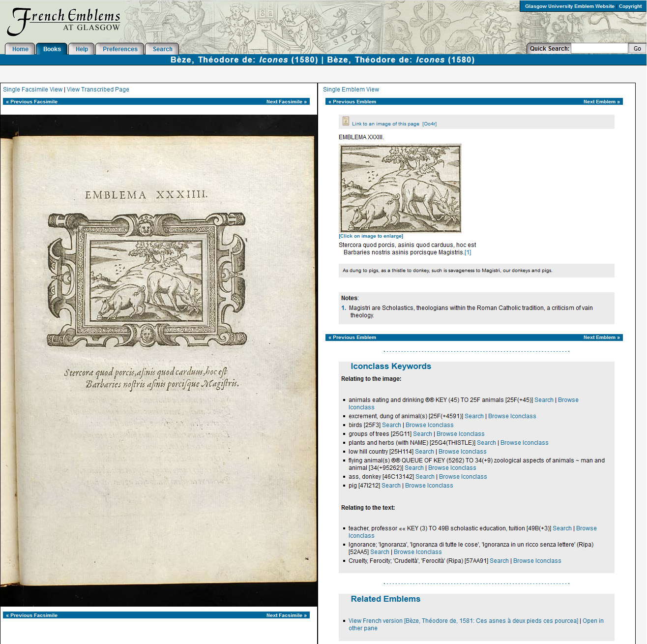 An emblem page, showing the digitised image on the left and transcribed text on the right