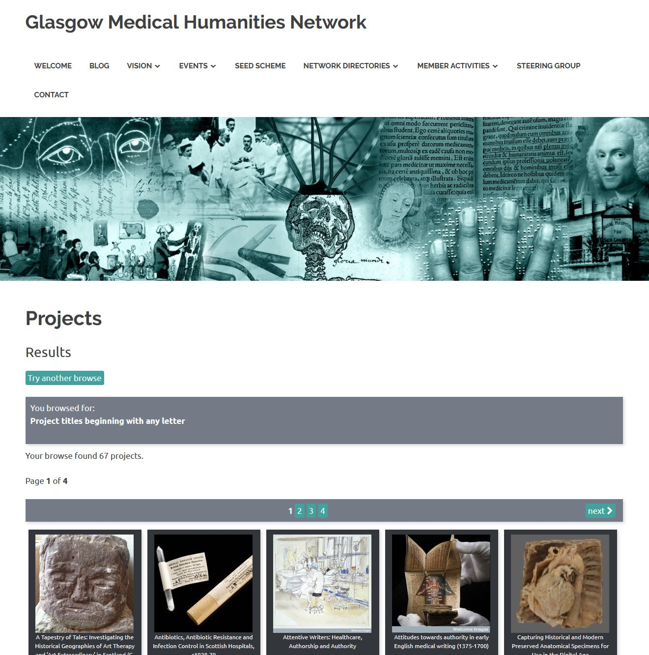 A page from the database of medical humanities projects