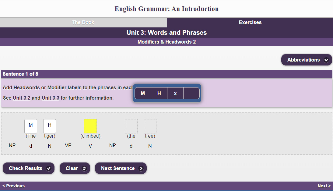 Grammer exercise about modifiers and headwords