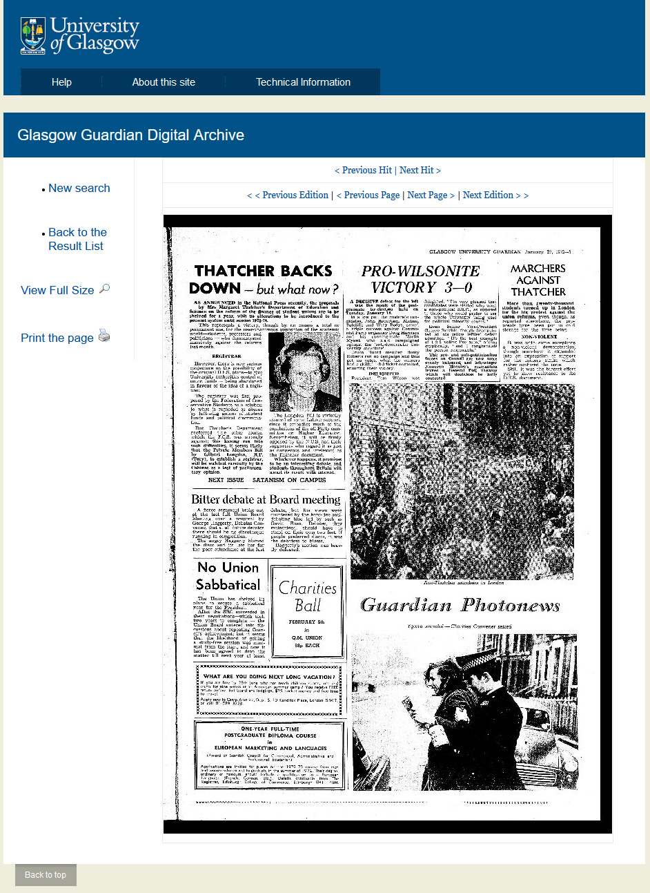Search results page showing an image of the newspaper