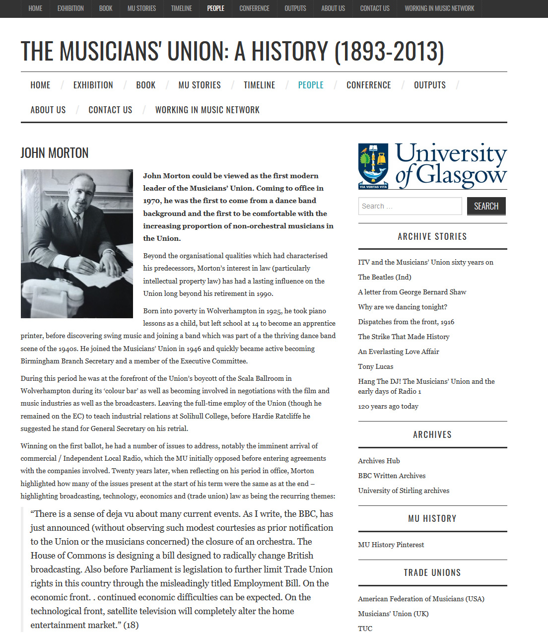 Biography of John Morton, general secretary of the Musicians' Union from 1971 to 1990