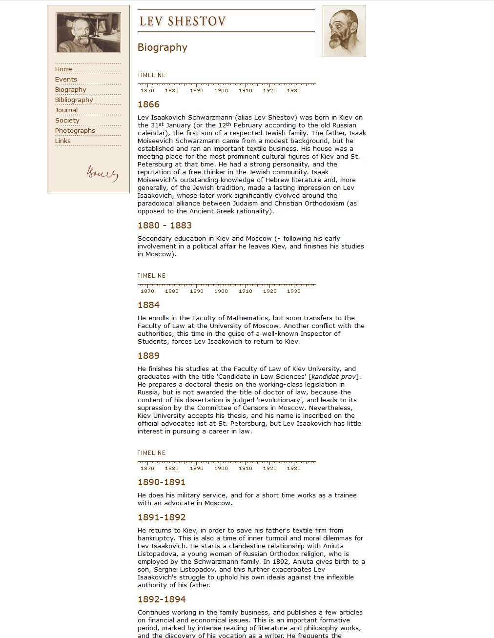 Biography of Lev Shestov displayed on a timeline