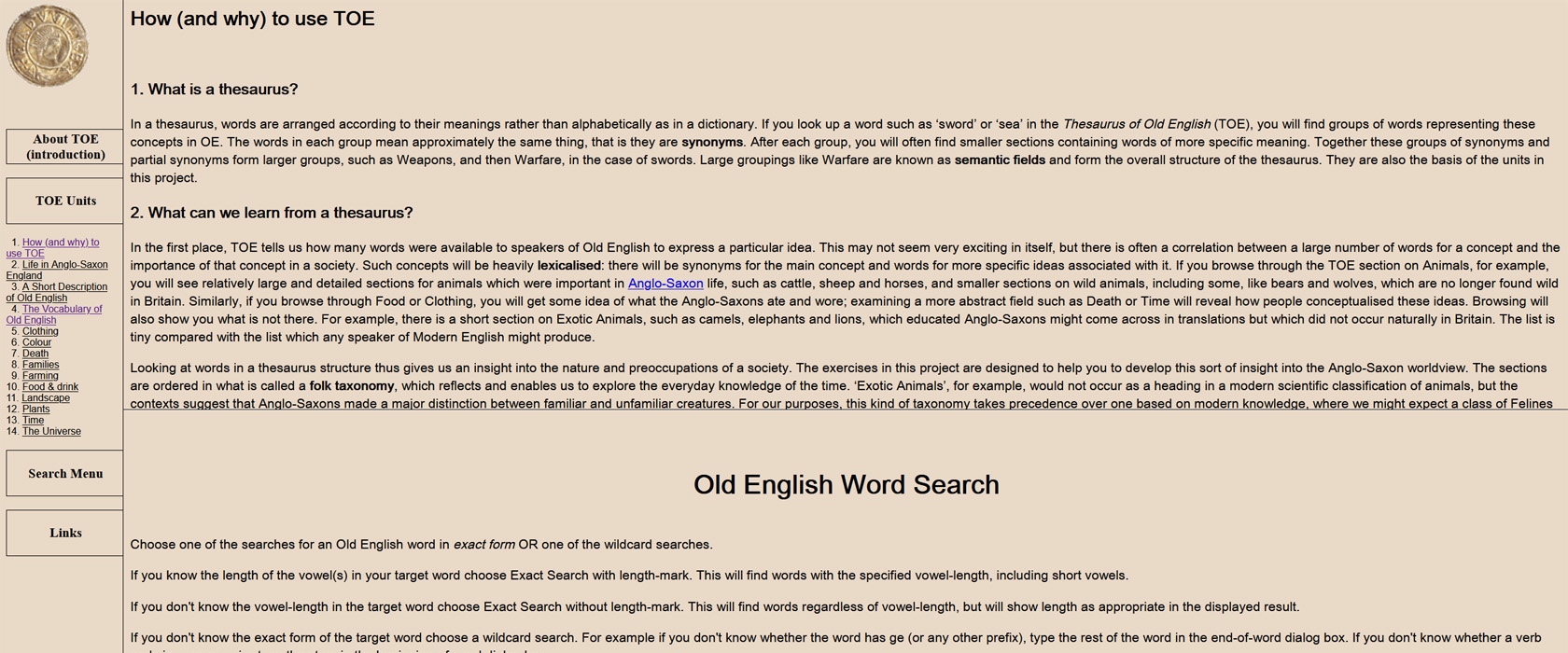 Learning with the online Thesaurus of Old English (TOE)