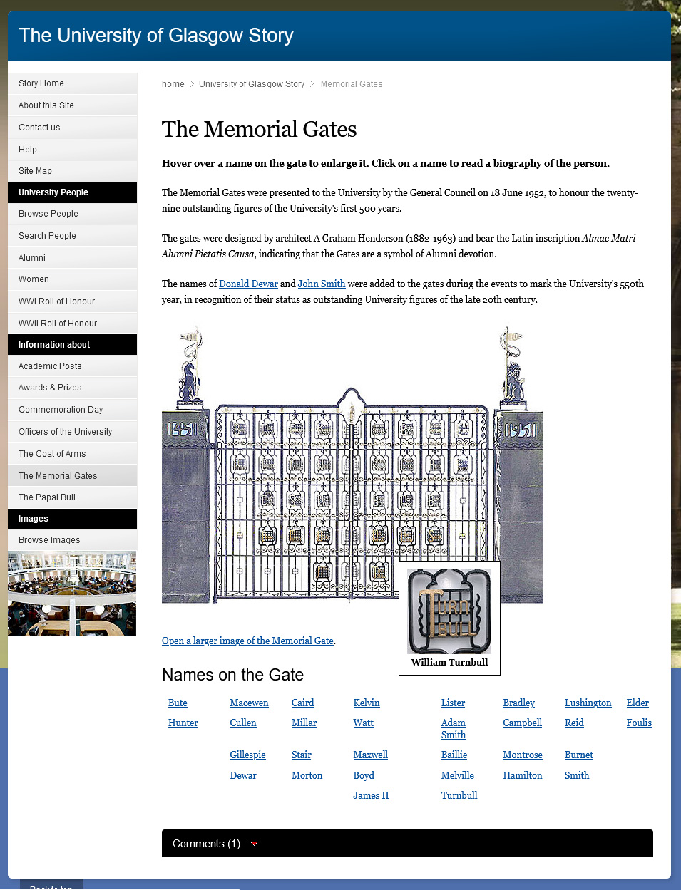 The interactive Memorial Gates page